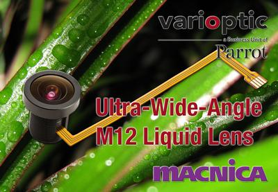 Varioptic launches an ultra-wide-angle Auto Focus M12 lens with extreme focusing range