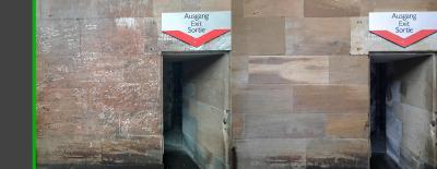 Vorher-Nachher Vergleich der gereinigten Dommauern.