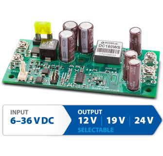 Fanless industrial 160 Watt DC/DC converter with wide range input 6-36 V and three selectable output voltages