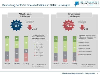 B2B E-Commerce Konjunkturindex - Umsätze Juli/August 2018