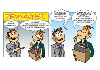 Ein Comic bringt die kreative Mitarbeitersuche der SIVIS auf den Punkt.