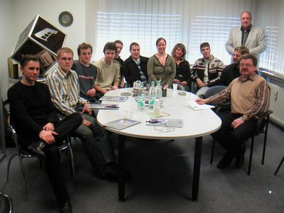School project participants meeting at the offices of the manufacturing company Schages in Krefeld to discuss the practical part of the project