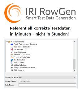 IRI RowGen erstellt und füllt automatisch massive DB-, Datei- und Berichtziele mit strukturell und referentiell korrekten Testdaten - in Minuten, nicht Stunden!