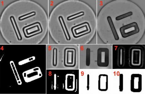 Abb. 1: Stufen des Algorithmus - Die Bilder werden mittels einer Blob Analyse und verschiedenen morphologischen, arithmetischen und geometrischen Operationen vorverarbeitet und dann dem String Reader zum Lesen der Nummer übergeben