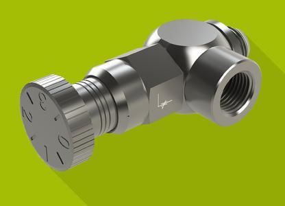 Die Klickdrossel besteht aus einer Hohlschraube und einer Regulierschraube. Das Drehen der Rändelschraube mit Einrastfunktion erlaubt ein feines Dosieren von Volumenströmen