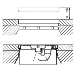 Höhenverstellbares Behälteroberteil (max. 100 mm) zum Niveauausgleich mit dem Fliesenspiegel und integriertem Geruchsverschluss (Fotos: Pentair Jung Pumpen, Steinhagen)