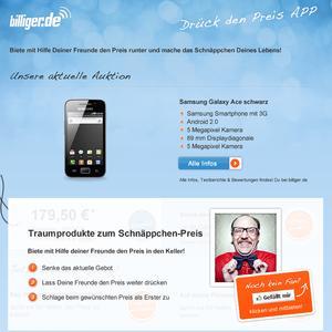 """billiger.de startet Facebook-App """"Drück den Preis!"""""""