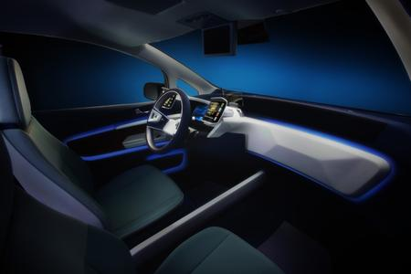 The interior of the e-Bee from Visteon: The seats are covered with the innovative material Acella® Eco natural from Benecke-Kaliko, which goes easy on the environment by using regenerative raw materials (Photo: Visteon)