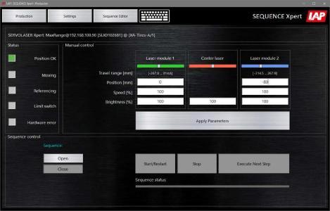 Mit der Steuerungssoftware SEQUENCE Xpert lässt sich das bewährte Laserpositioniersystem SERVOLASER Xpert von LAP ganz ohne SPS konfigurieren, steuern und überwachen – einfach per Mausklick auf dem Tablet oder PC