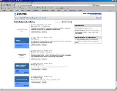 Esprezo Webspace: In dieser Schaltzentrale verwaltet der Nutzer Foliensätze, Veranstaltungen und sein virtuelles Adressbuch.