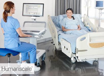 Humanscale T7 Point of Care Visitenwagen - Anwendung Klinik