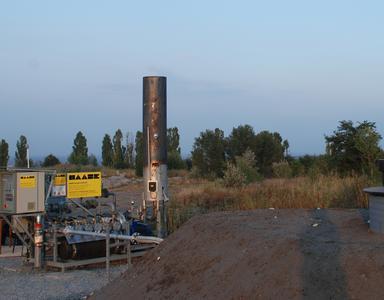 : Deponiegas-Fackelanlage auf der Deponie Krementschuk, Ukraine