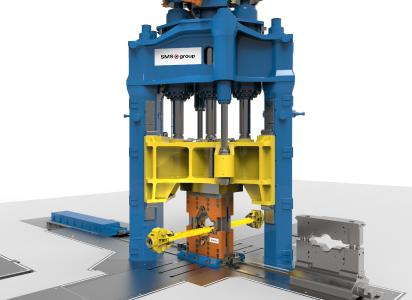 50/55 MN open-die forging press of two-column, push-down design with fitted X-Forging Box