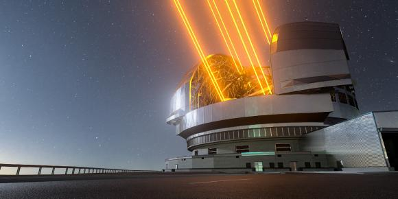 This image shows an artist's impression, based on the final design for the telescope, of ESO's Extremely Large Telescope (ELT), which will be the biggest 'eye on the sky' when it achieves first light later this decade. The telescope uses lasers to create artificial guide stars to measure how much the light is distorted by turbulence in the Earth's atmosphere. Credit: ESO