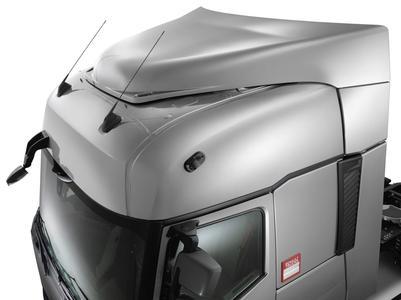 Die Aluminiumsattelkupplung, ein neuartiger fester Dachspoiler mit geringerem Gewicht und ohne Metallbeschlagteile sowie ein optional integrierter Spoiler unter der Stoßstange tragen zur Optimierung der Betriebskosten bei (Foto: © Renault Trucks)