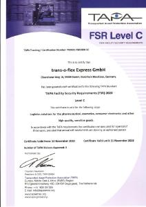This certificate confirms that trans-o-flex has certified its Hamm-Rhynern site in accordance with the current TAPA standard FSR-C 2020