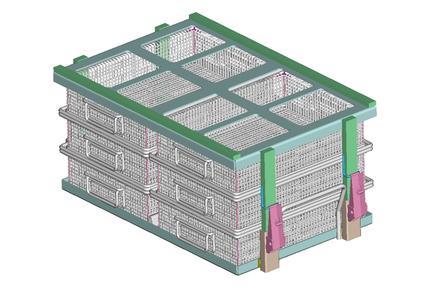 Mefo-Boxen aus dem Standardprogramm werden über Grundrahmen und Deckel mit Camloc-Verschlüssen auf die Sonderchargengröße der vorhandenen Reinigungsanlage adaptiert.