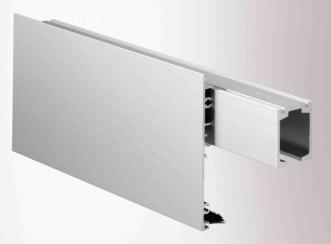Clip cover 100 to conceal the GEZE Rollan and GEZE Perlan interior sliding door systems