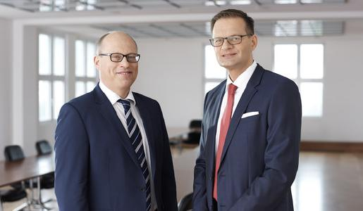 Jenoptik Executive Board as of May 1, 2017: CFO Hans-Dieter Schumacher (left), President and CEO Dr. Stefan Traeger (right) / Photo: Jeibmann Photographik