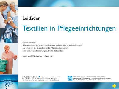 """Der Leitfaden """"Textilien in Pflegeeinrichtungen"""" kann kostenlos unter www.waeschereien.de heruntergeladen werden"""