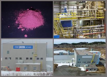 Bild 1. Oben links nach rechts, Kobaltsulfat, hergestellt mit dem Flussdiagramm der First Cobalt Raffinerie; aktueller Autoklavkreislauf. Unten von links nach rechts, Außen- und Flächenbilder der Anlage