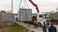 Die Anlieferung und Inbetriebnahme des mobilen Heizcontainers für die Rasenheizung übernahmen die Servicetechniker der Hotmobil Niederlassung Bochum.
