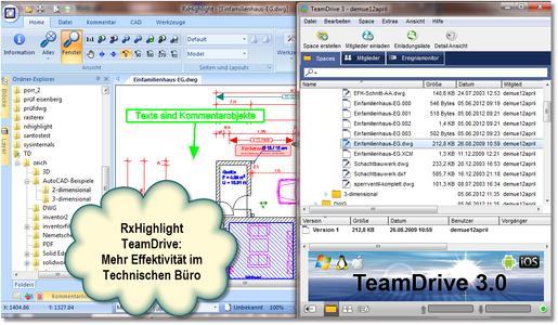 Der Dialog zeigt das Kommentieren von RxHighlight TeamDrive