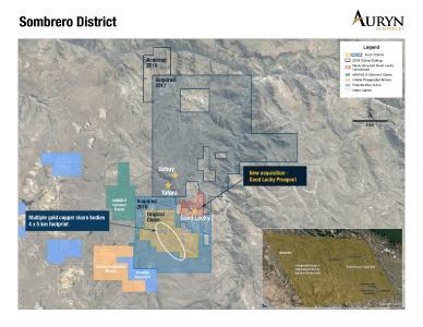 Zeigt das ca. 51.300 Hektar große Landpaket im Bezirk Sombrero North. Sie zeigt ebenfalls die Lage der vor Kurzem erworbenen Lizenzen Good Lucky und der Prospektionsgebiete Totora und Uchuy