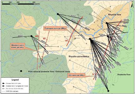 Figure 1: Plan View of Geology, Drill Traces and Distribution of 3 Main Veins at WKP