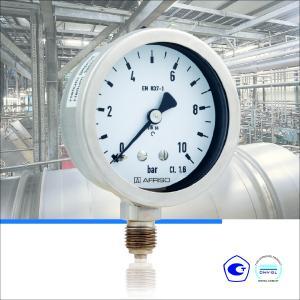 Die AFRISO Rohrfeder-Chemiemanometer NG 50 und NG 63 eignen sich für Anwendungen in der Chemie- und Verfahrenstechnik und sind DNV-und GOSSTANDART-zertifiziert / Foto: AFRISO