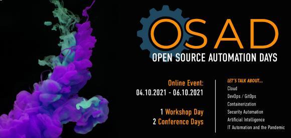 Die Open Source Automation Days 2021 finden vom 04.10. - 06.10.2021 virtuell statt.