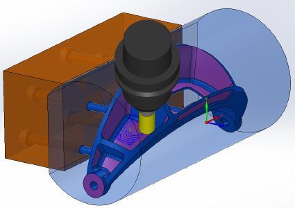 Was die Webinar-Teilnehmer auf der Hermle C 32 U sehen werden: Simulation in SolidCAM. Die 5-Achs-Simultanbearbeitung einer Tasche mit dem Hufschmied-Werkzeug 63CWI. Werkzeug und Bearbeitungsstrategie sind so ausgelegt, dass sehr wenig Wärme entsteht und die Helm-Brücke sich nicht verzieht / Bildquelle: Hufschmied Zerspanungssysteme