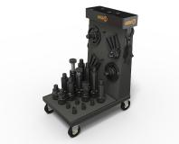 AMF offers numerous accessories for the modular screw jacks. A workshop trolley with mountings for the modules ensures order and mobile, quick provision at the place of use. ©Quelle/Bildrechte: AMF