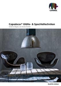 """Die neue 16seitige Gesamtbroschüre """"Capadecor Glätte- & Spachteltechniken"""" (Foto: Caparol Farben Lacke Bautenschutz)"""