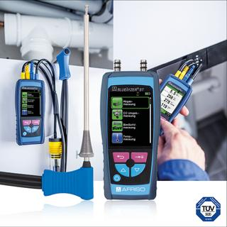The new AFRISO BLUELYZER ST has been designed for universal application to service small and medium-sized oil and gas fired systems according to the 1st German Federal Immission Act  (1. BImSchV); it is the ideal tool for HVAC experts