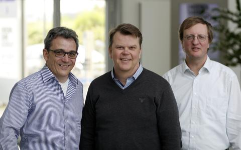 Petri Haverinen, MTV Oy (centre), together with Bernd Götzelmann and Christian Schneider of arvato Systems