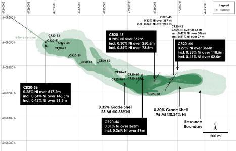 Figure 1 - Plan View of Main Zone Nickel Resource, Crawford Nickel-Cobalt Sulphide Project, Ontario
