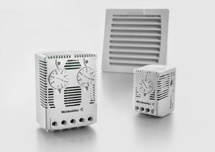 Weidmüller filter fans: A range of matched accessories complements the programme of fans, e.g. thermostats and hygrostats for monitoring and controlling temperature and humidity