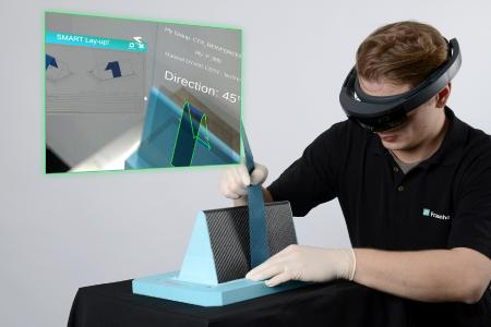 The Fraunhofer IPT has developed software for commercially available smart glasses that specifies the correct deposition of the semi-finished materials as a virtual representation on the mold