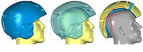 Die Form eines Skihelmes passt nicht zur Kopfform (am Beispiel eines Dummies): Der Helm liegt nicht optimal am Kopf an, sondern weist signifikante Formabweichungen auf. Im Extremfall könnte er so seine Schutzfunktion nicht ausreichend erfüllen und ist zudem unbequem. ©Hohenstein Institute