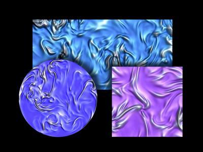 """Momentaufnahmen der Scherschichten in Schnittebenen durch die drei turbulenten Strömungen, eine Modellströmung in einem Würfel (lila), eine druckgetriebene Strömung durch einen rechteckigen Kanal (hellblau) und eine thermische Konvektionsströmung, die von der Bodenplatte beheizt wird (blau). Die langgezogenen """"Bergrücken"""" in den Bildern sind die Scherschichten"""