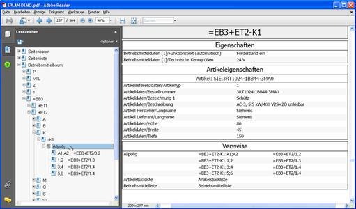 Durch die Ausgabe von ergänzenden Betriebsmitteldaten lässt sich das EPLAN-Projekt als PDF ausgeben und perfekt in Fertigung, Wartung und Montage nutzen.