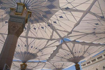 The umbrellas now in place at the Piazza of the Prophet's Holy Mosque in Medina. ©SL Rasch