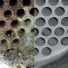 Tube bundle heat exchanger cleaning with the TubeMaster method: before / after