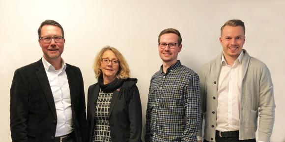 v.l.n.r.: Rainer K. Füess (tisoware), Sabine Dörr (tisoware), Florian Zogel (DATEV), Maximilian Rom (DATEV)