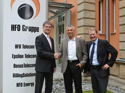 Gerhard Lindner (Aufsichtsratsvorsitzender), Wolfgang Hüttner und  Achim Hager (Vorstandsvorsitzender) - von links
