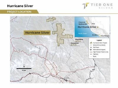 Figure 1: Illustrates the position of the Hurricane project in southeastern Peru, approximately 66 km north of Cusco.