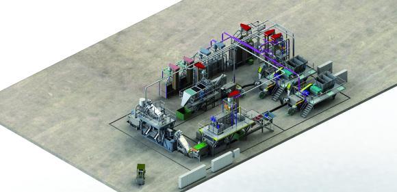 3D-Ansicht der neuen HERBOLD-Waschanlage für MAG / Fantastik-Plastik, Russische Föderation
