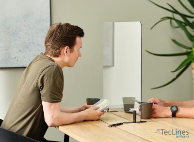 TecLines HSS01 Hygiene Acryl Schutzscheibe mit Standfuß