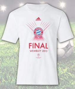 Jetzt an der Verlosung teilnehmen und eins von 100 original FC Bayern Final Wembley 2013 T-Shirts gewinnen Bild: Bayerisches Münzkontor